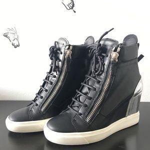 Giuseppe Zanotti Black And Silver Wedge Sneakers